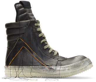 Rick Owens Black Bluejay Geobasket High-Top Sneakers