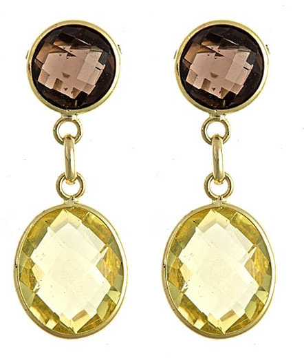 Brian Danielle Smokey Topaz and Citrine Drop Earrings