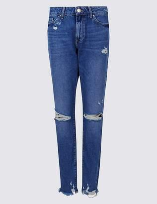 Marks and Spencer Skinny Leg Mid Rise Ripped Hem Jeans