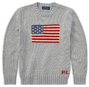Ralph Lauren Boys' Intarsia Flag Sweater - Big Kid