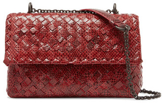 Bottega Veneta - Olimpia Baby Intrecciato Watersnake Shoulder Bag - Red $4,600 thestylecure.com
