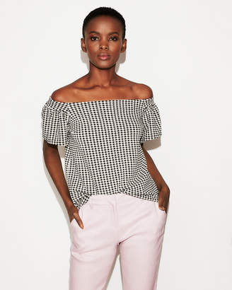 Express Petite Gingham Off The Shoulder Ruffle Sleeve Top