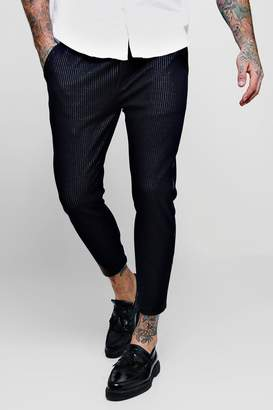 boohoo Woven Fine Pinstripe Tapered Jogger