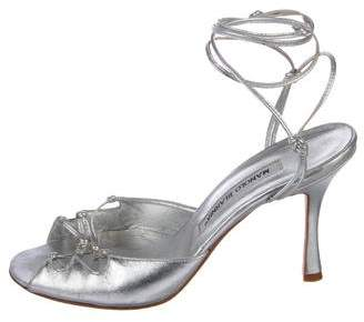 Manolo Blahnik Metallic Leather Wrap-Around Sandals