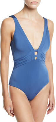 Jets Mirage Plunging V-Neck One-Piece Swimsuit