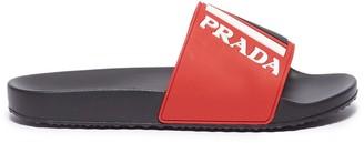 Prada Textured logo colourblock pool slides