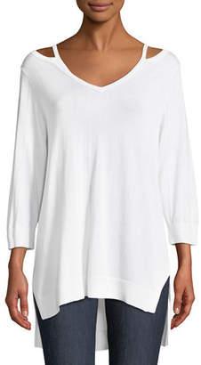 Joan Vass Open V-Neck Easy Sweater Tunic, Plus Size
