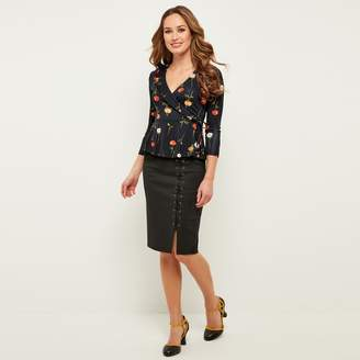 Joe Browns Floral Wrap T-Shirt with 3/4 Length Sleeves