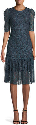 See by Chloe Floral Mesh Lace Midi Dress