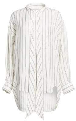 Balenciaga Women's Striped Logo Button-Down Shirt - Ivory Blue - Size 38 (4)