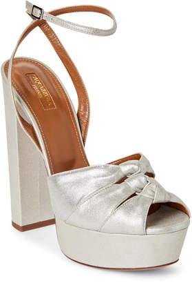 Aquazzura Silver Mira Plateau Metallic Platform Sandals