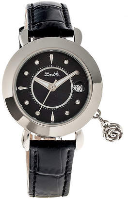 Mother of Pearl BERTHA Bertha Womens Rose Mother-Of-Pearl Black Leather-Band Watch With Datebthbr5502