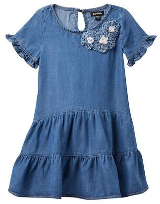 Zunie Short Sleeve Tiered Denim Dress (Little Girls)