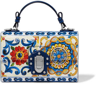 Dolce & Gabbana Lucia Printed Textured-leather Shoulder Bag - Blue