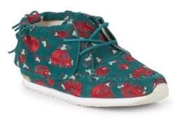 Little Girl's & Girl's Stone Leopard Lips Suede Chukka Sneakers