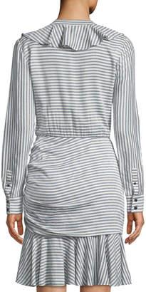Veronica Beard Kai Striped Ruffled Shirtdress