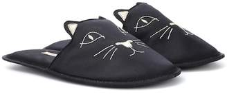 63f71e75779 Charlotte Olympia House Cats satin slippers