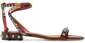 Valentino Rockstud Rolling Woven And Leather Sandals