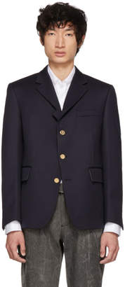 Thom Browne Navy Four-Button Pintuck Single-Breasted Blazer