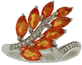 QVC 1.00 ct tw Fire Opal & Diamond Accent Leaf Ring