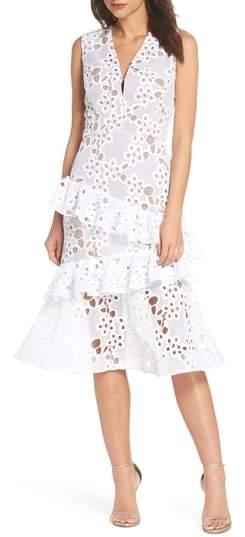 BRONX AND BANCO Donna Ruffle Lace Midi Dress