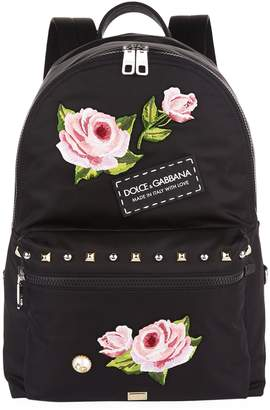 Dolce & Gabbana Rose Embroidered Backpack