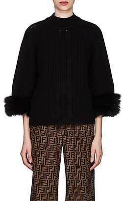 Fendi Women's Fur-Cuff Cashmere Sweater - Black