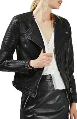 Women's Topshop Nelly Faux Leather Biker Jacket $90 thestylecure.com