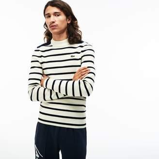 Lacoste Men's LIVE Crew Neck Striped Interlock Sweater