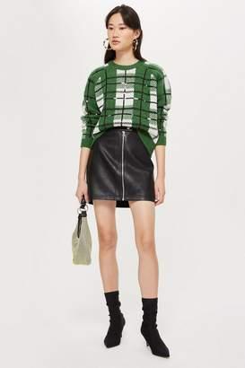 Topshop PETITE Leather Look Mini Skirt