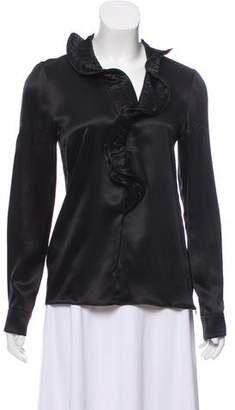 Armani Collezioni Ruffle-Trimmed Long Sleeve Top