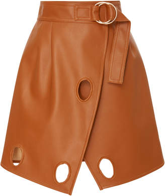 Self-Portrait Self Portrait Wrap-Effect Cutout Faux Leather Mini Skirt