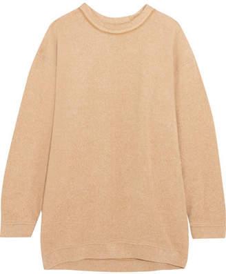 Oversized Cotton-blend Fleece Sweatshirt - Camel