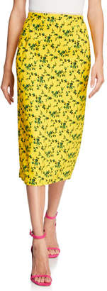 No.21 No. 21 Floral Vented Midi Skirt w/ Colorblock Stripes