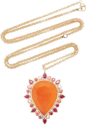 Shebee She Bee 14K Gold And Carnelian Pendant Necklace