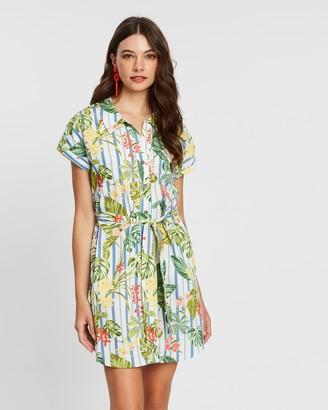 Mng Printed Short Sleeve Shirt Dress