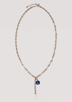 Emporio Armani Chain Necklace With Logo Charm And Lucky Horn