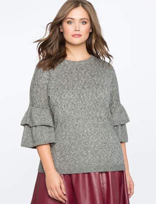 ELOQUII Tiered Ruffle Sleeve Sweater