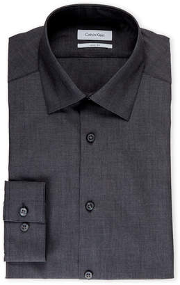 Calvin Klein Charcoal Slim Fit Solid Dress Shirt
