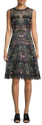 Elie Tahari Maritza Embroidered Organza Dress