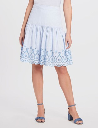 Draper James Embroidered Scallop Hem Skirt