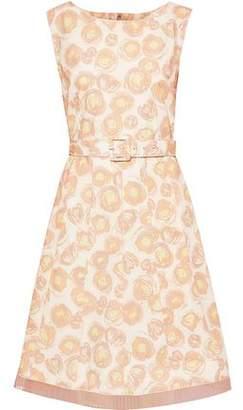 Marc Jacobs Belted Chiffon-trimmed Floral-print Cotton-blend Poplin Dress