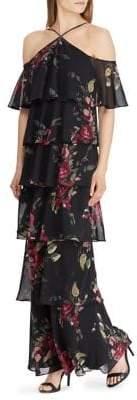 Lauren Ralph Lauren Floral Ruffle-Tiered Gown