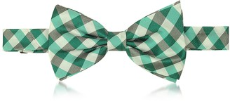 Forzieri Green Plaid Woven Silk Pre-tied Bow Tie