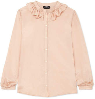 A.P.C. Josephine Ruffled Cotton And Silk-blend Voile Blouse - Blush