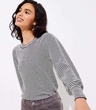 LOFT Striped Puff Sleeve Sweater
