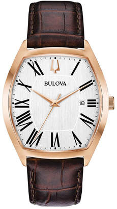Bulova Men's Tonneau Oval Watch w\/ Leather Strap Brown\/Gold