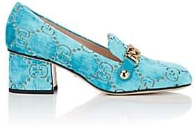 Gucci Women's Sylvie Embossed Velvet Pumps - Turquoise