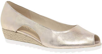 Gabor Roseford Wide Fit Wedge Heel Espadrille Sandals, Metallic