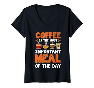 Womens Coffee Is The Most Important Meal Of The Day Funny Gift V-Neck T-Shirt